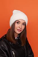 Тепла і м'яка жіноча шапка лопатка з підворотом на флісі 61mgo215