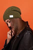 Жіноча тепла шапка панчіх з шерстю і флісом всередині 61mgo222