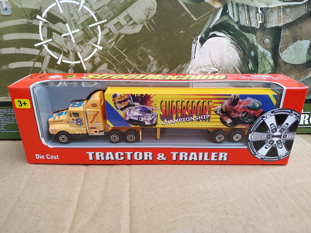Машинка трейлер грузовик метал 22 см желтый прицеп