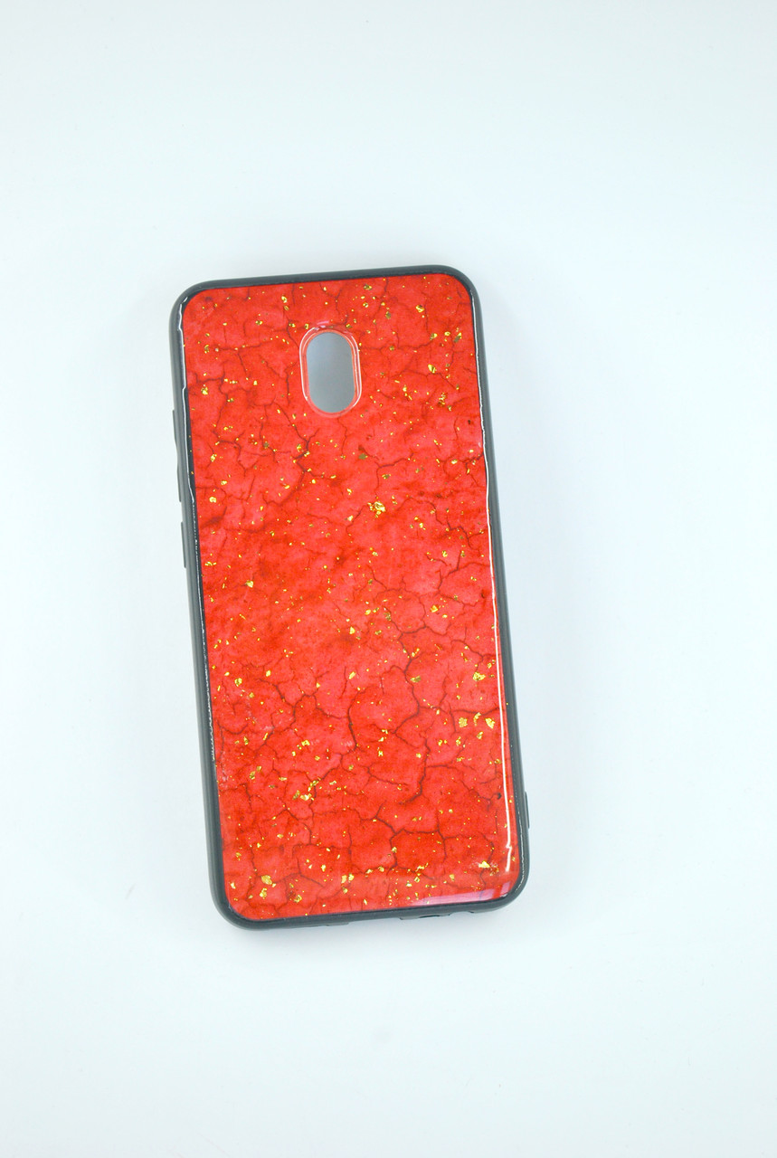 Чехол Xiaomi Redmi Note 8Pro Silicone Glass Marble Glitter red