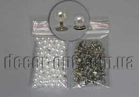 Намистини білі перл. з заклепкою 6мм/≈11гр/≈13гр/≈100шт