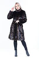 Женская коричневая шуба из экомеха под норку поперечными полосками и с воротником - стойкой 39msh121, фото 1