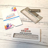 Бейдж на белом метале с Вашим логотипом с окном для сменной информации, фото 1