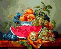 Картина раскраска по номерам на холсте 40*50см Babylon VP597 Натюрморт с арбузом и виноградом
