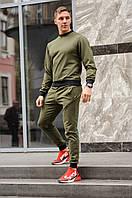 Спортивный костюм мужской весна-лето-осень (хаки свитшот + хаки штаны)