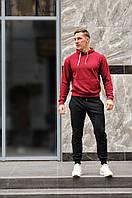 Спортивный костюм мужской весна-лето-осень (бордовая  худи + черные штаны)