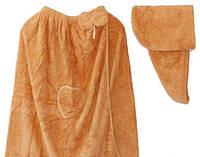 Полотенце - халат женское + челма микрофибра для сауны бани 140*80 Золотой