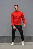 Спортивный костюм мужской весна-лето-осень (красный свитшот + черные  штаны)