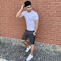 Серая футболка и темно-серые шорты с лампасами / Летние комплекты для мужчин