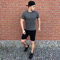 Темно-серая футболка и черные шорты / Летние комплекты для мужчин