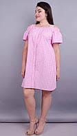 Клариса. Красивое платье-рубашка плюс сайз. Розовая клетка., фото 1