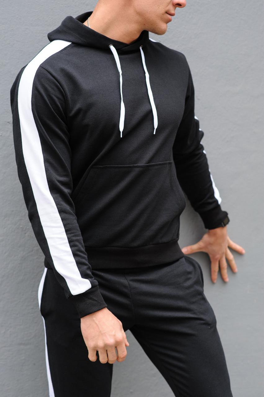 Черная худи с лампасами (толстовка с капюшоном, кофта,  кенгурушка)