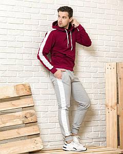 Чоловічий спортивний костюм (бордова худі з лампасами і сірі спортивні штани з лампасами)