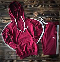Бордовый спортивный костюм Puma (Пума) с лампасами / Весна-осень