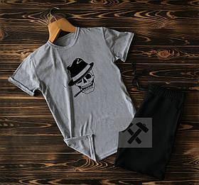 Cпортивные Мужские шорты и футболка c черепом / Летние комплекты для мужчин