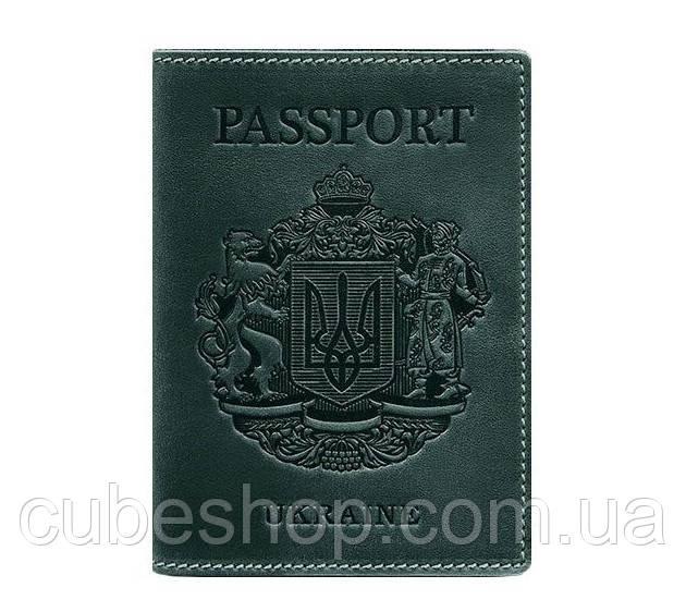 Кожаная обложка для паспорта с гербом Украины (зеленая)