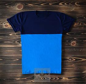 Синяя комбинированная футболка / Футболки с надписями на заказ