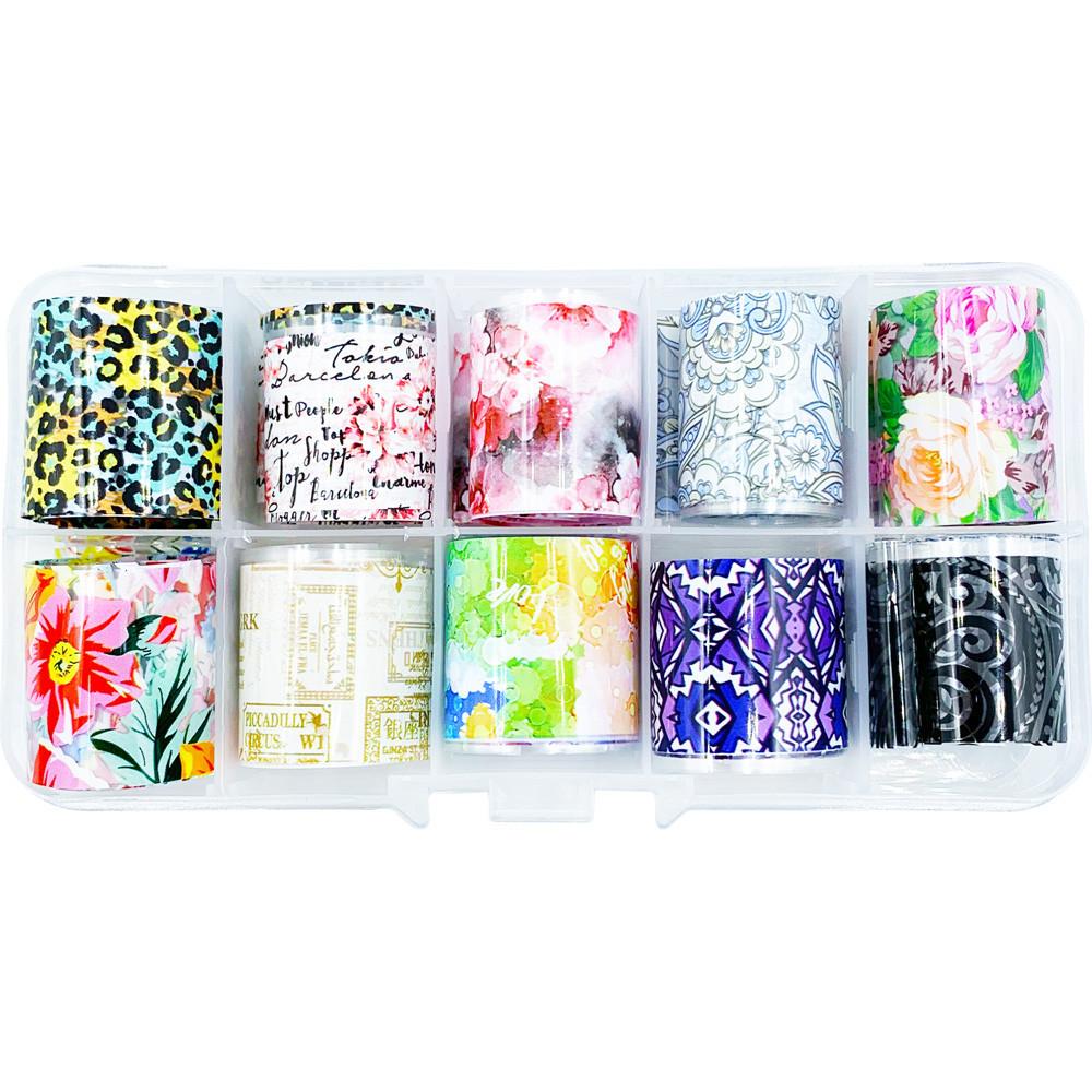 Фольга переводная для маникюра для литья и дизайна ногтей набор 10 шт.по 50 см в контейнере