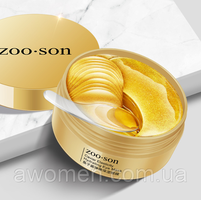 Гидрогелевые патчи для век ZOO:SON Caviar Elasticity Hydrating Eye Patch с красной икрой (30 пар)