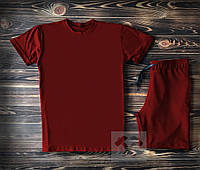 Мужская бордовая футболка и мужские бордовые шорты / Летние комплекты для мужчин