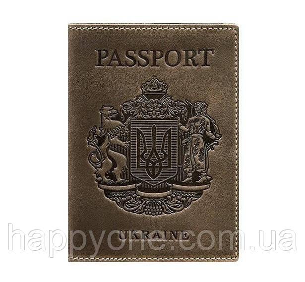 Кожаная обложка для паспорта с гербом Украины (темно-коричневая)