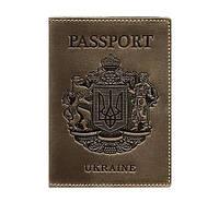 Кожаная обложка для паспорта с гербом Украины (темно-коричневая), фото 1