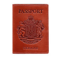 Кожаная обложка для паспорта с гербом Украины (коралловая), фото 1