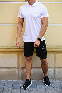 Чоловічий річний комплект шорти і футболка поло Jordan (Джордан)