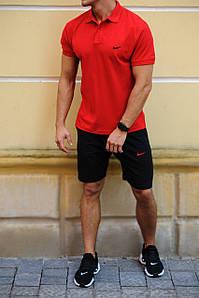Чоловічий річний комплект шорти і футболка поло Nike (Найк)
