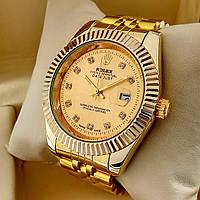 Кварцевые наручные часы Rolex Classic (Ролекс) на металлическом браслете золото, золотой циферблат с датой