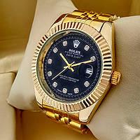 Кварцевые наручные часы Rolex Classic (Ролекс) на металлическом браслете золото, черный циферблат с датой