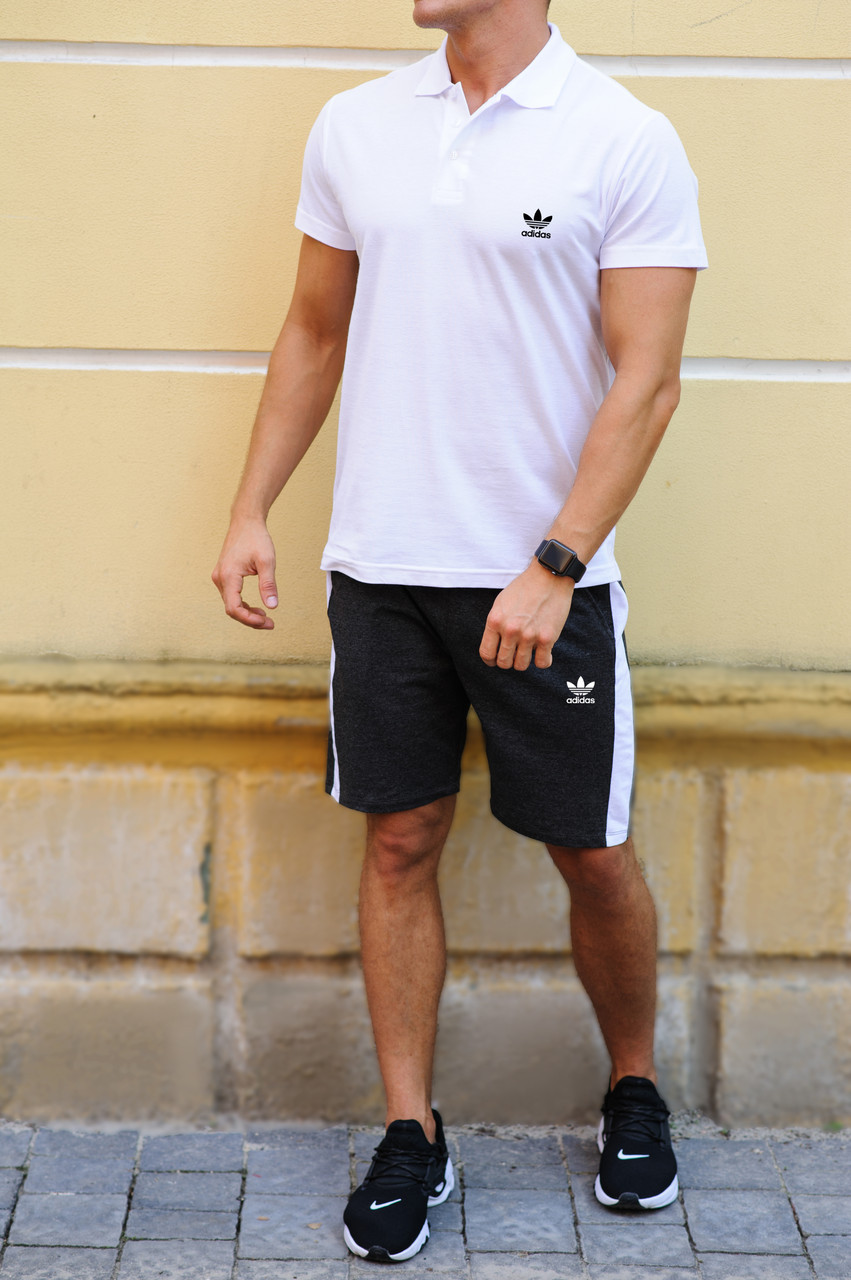 Мужские шорты с лампасами и футболка поло Adidas (Адидас)