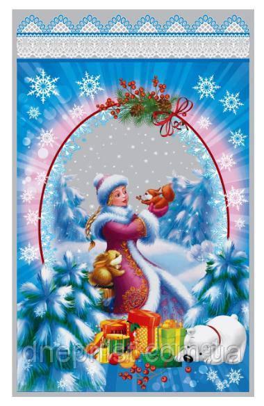 Новорічний Пакет для цукерок і подарунків 25х40 см, фольгований / Снігуронька