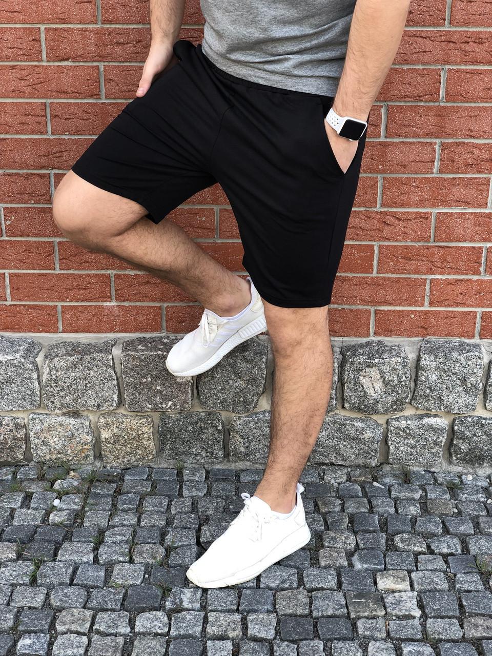 Мужские черные шорты хлопковые / Спортивные шорты на лето
