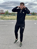 Мужской спортивный костюм Reebok (рибок) - черная худи и черные штаны  / Весна-осень