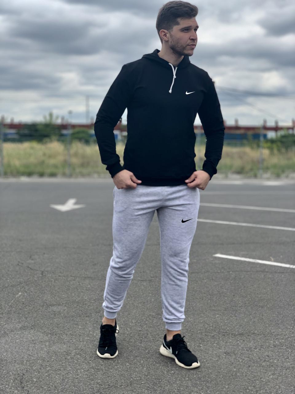 Мужской спортивный костюм Nike (найк) - черная худи и серые штаны  / Весна-осень