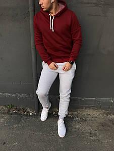 Зимний мужской спортивный костюм - серые штаны и бордовая кофта / ОСЕНЬ-ЗИМА
