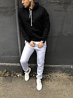 Теплый мужской спортивный костюм - светло серые штаны и черная кофта / ОСЕНЬ-ЗИМА