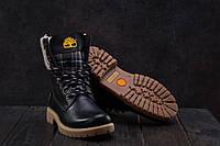 Женские зимние ботинки на меху в стиле Timberland, шерсть, натуральная кожа, черные 39 (25 см)