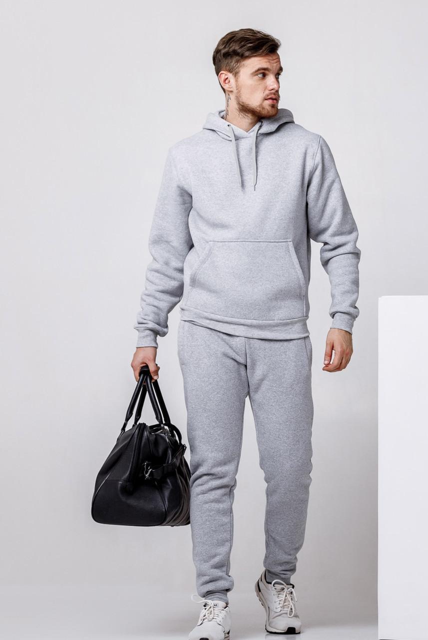 Зимний мужской спортивный костюм - серая теплая худи и серые теплые штаны / ОСЕНЬ-ЗИМА
