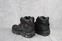 Мужские зимние ботинки на меху в стиле Ecco, шерсть, натуральная кожа, черные *** 40 (27 см)