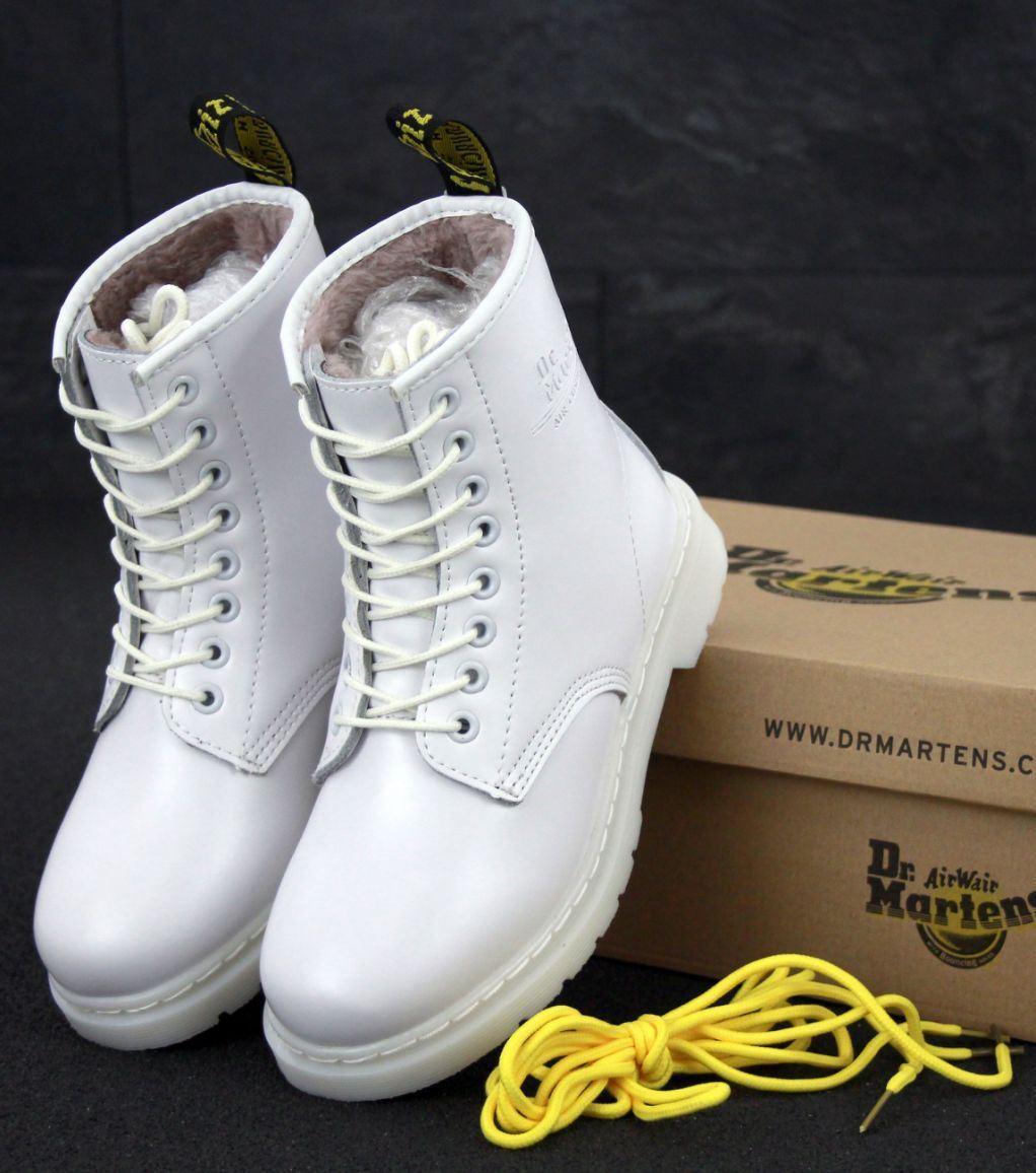 Женские зимние ботинки Dr. Martens 1460 White с мехом, Доктор Мартинс белые