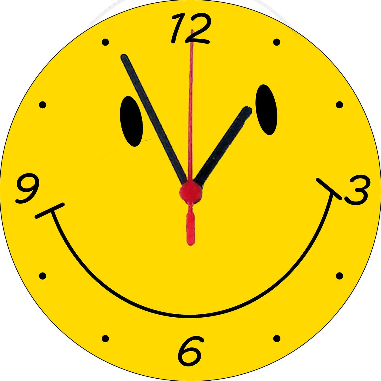 """Настінні годинники на склі """"Смайл"""" круглі"""