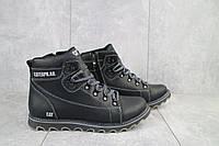Мужские зимние ботинки на меху в стиле CAT Caterpillar, шерсть, натуральная кожа, черные *** 40 (26 см)