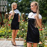 """Д700 Платье из стрейч-атласа """"Блеск"""" Черный"""
