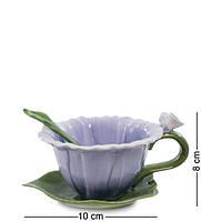 """Чайная пара с ложечкой """"Георгин"""" 130 мл., 2 пр., Pavone, Италия"""