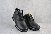 Мужские зимние ботинки на меху в стиле Timberland, шерсть, натуральная кожа, черные *** 42 (27,5 см)