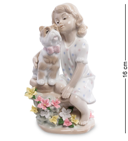 """Фигурка """"Девочка с собакой"""" 8,5x7x16 см., фарфор Pavone, Италия"""