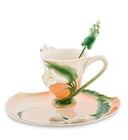 "Чашка с блюдцем ""Лилия"" 90 мл., 2 пр., фарфор Pavone, Италия"