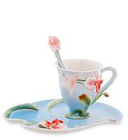 """Чашка с блюдцем """"Орхидея"""" 150 мл., 2 пр., фарфор Pavone, Италия"""